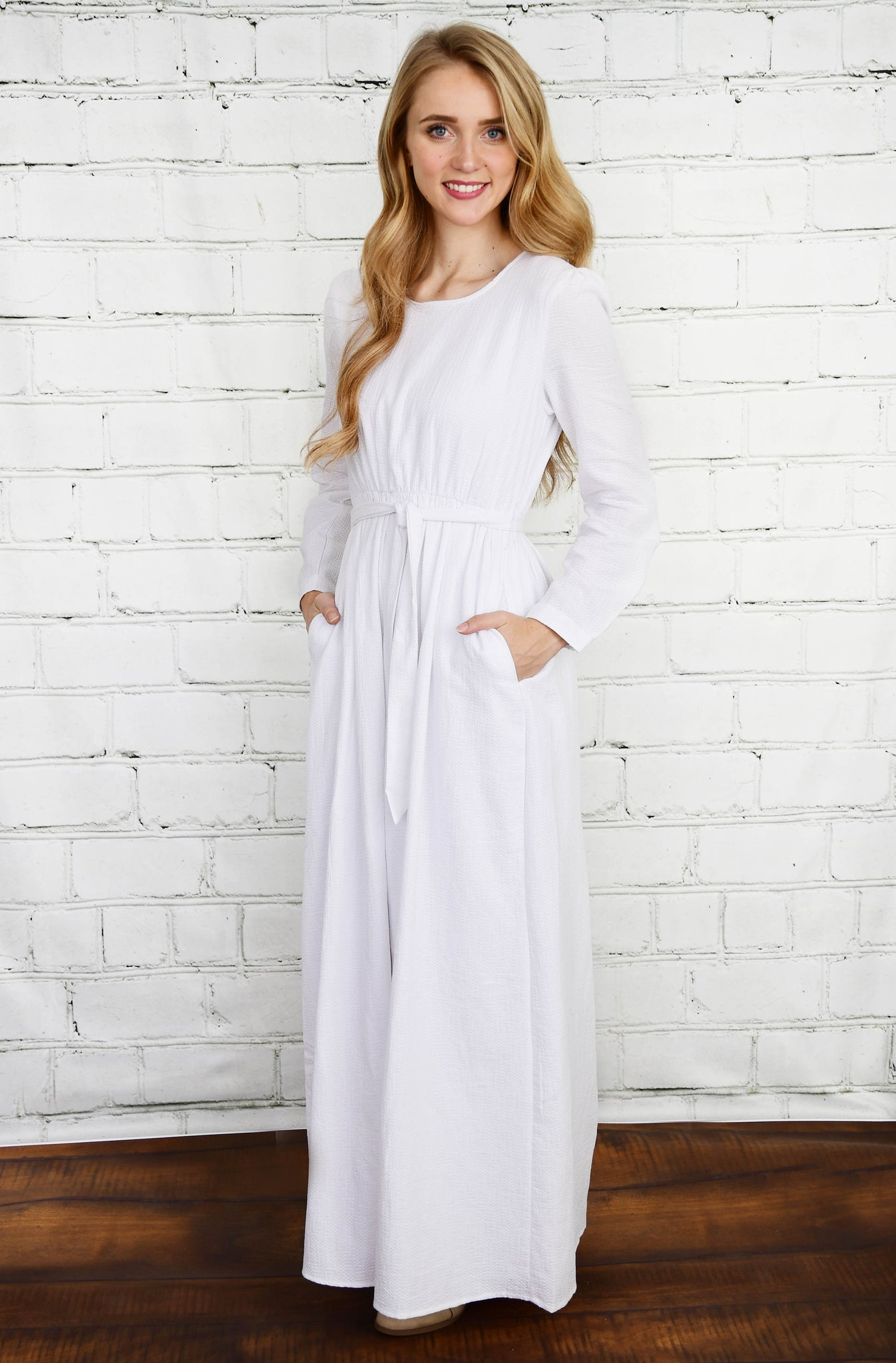 The Liv Textured White Temple Dress
