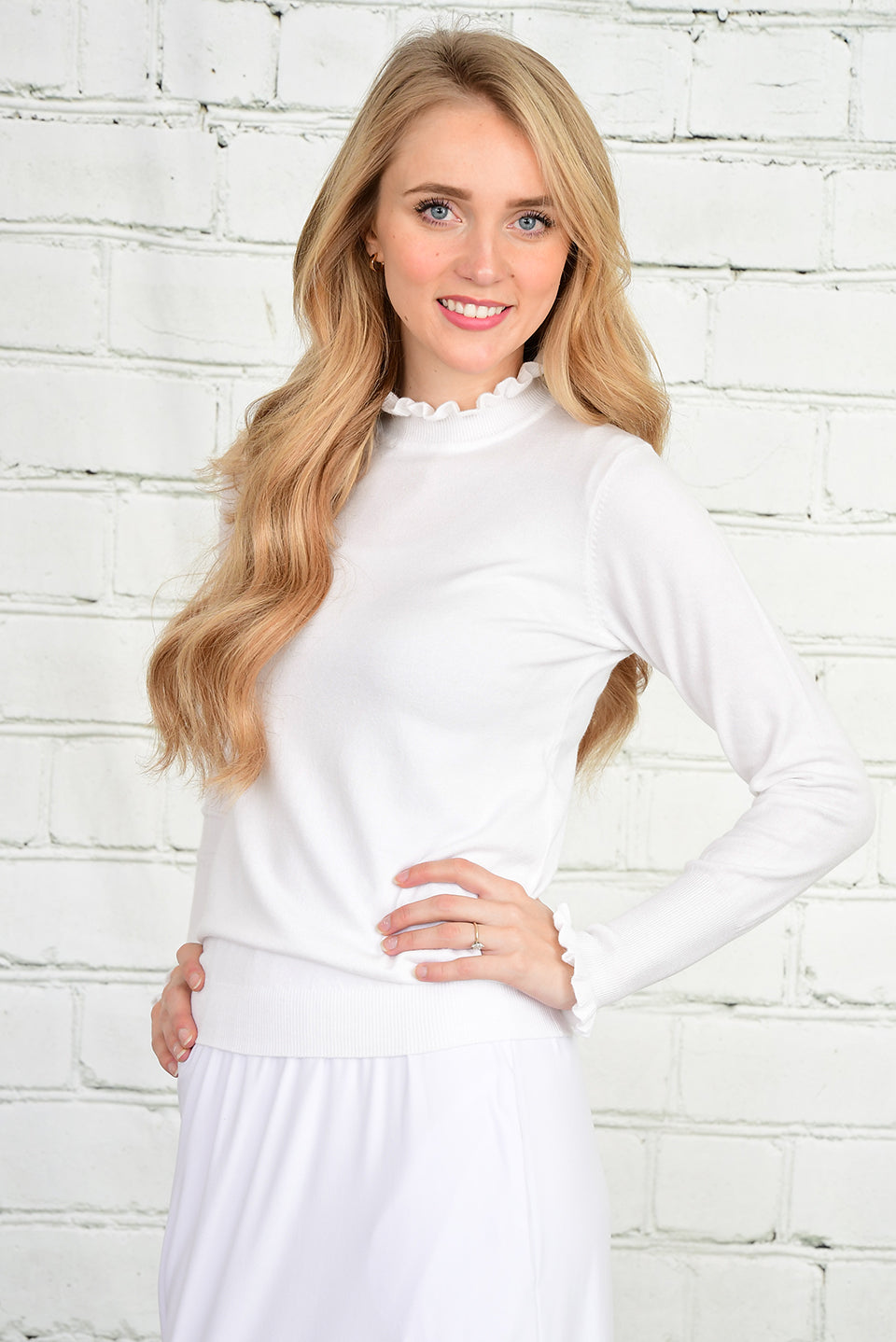 The Kelli Ruffle Sweater in White
