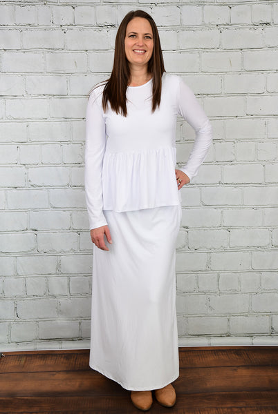 The Bethany Long Maxi Skirt in White