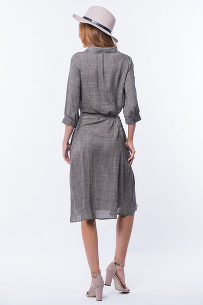 The Sutton Button Down Dress in Dark Gray