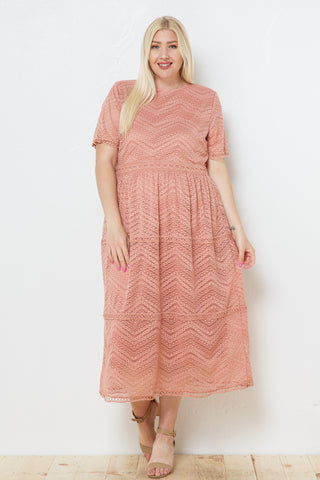 The Trista Lace Dress in Terracotta Curvy