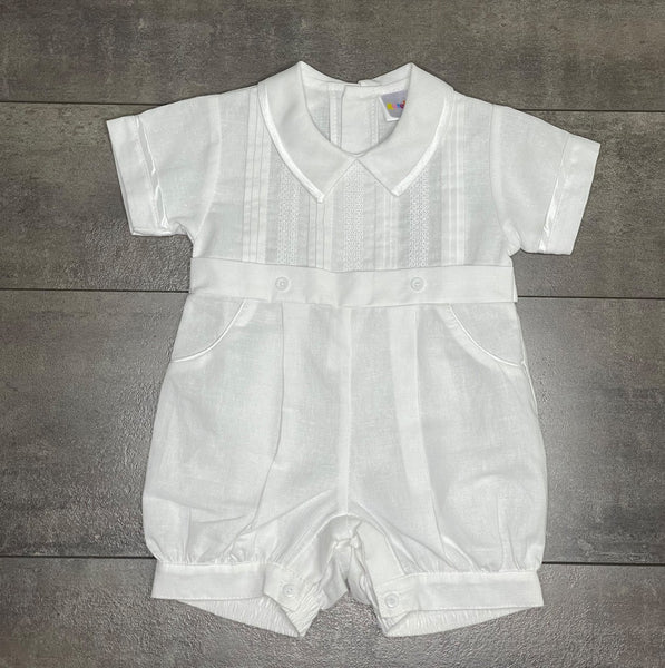 The Hampton Linen Romper in White