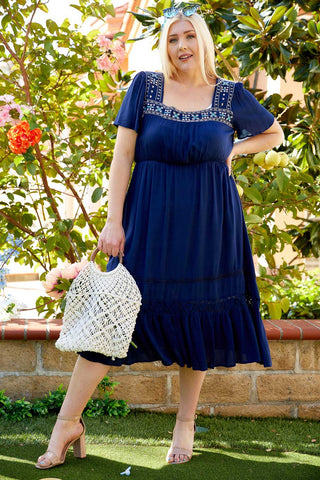 Adelyn Embroidered Dress in Navy