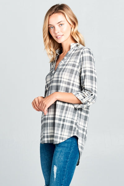 The Sawyer Split Neck Roll-Over Plaid Top in Gray/Ivory