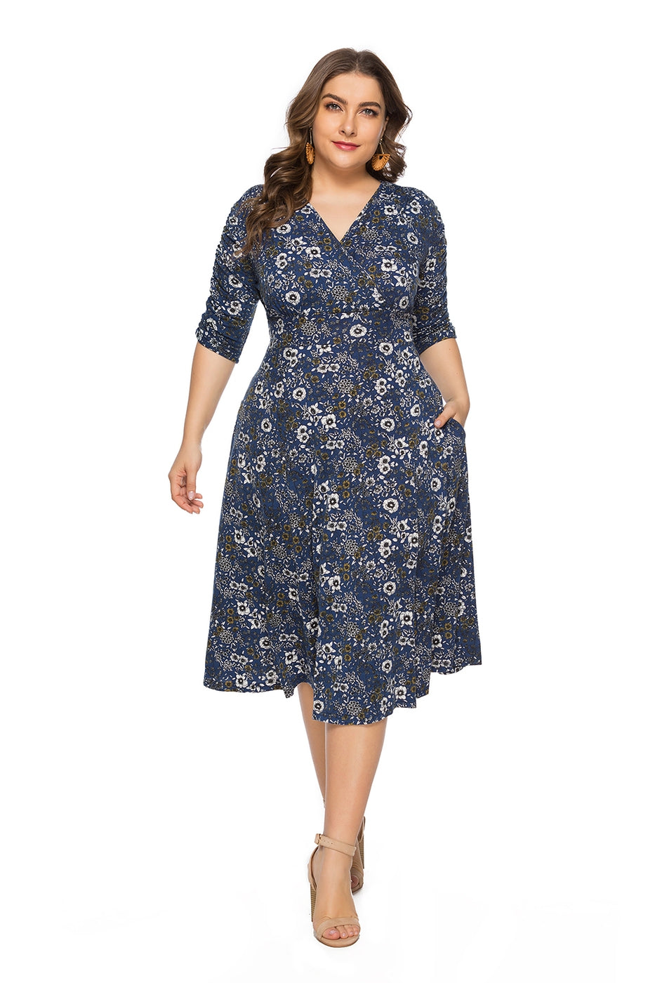 The Miele Casual V-Neck Dress in Blue