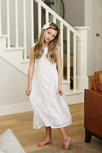 The Diana White Flutter Sleeve Baptism Dress