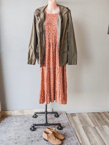 The Fawn Tiered Dress in Rust