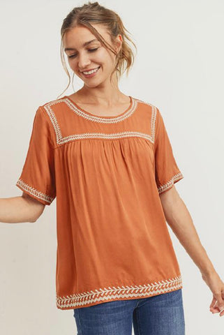 The Aria Embroidered Top in Camel