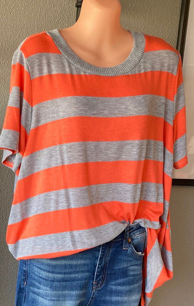 The Alyssa Knit Top in Orange/Gray