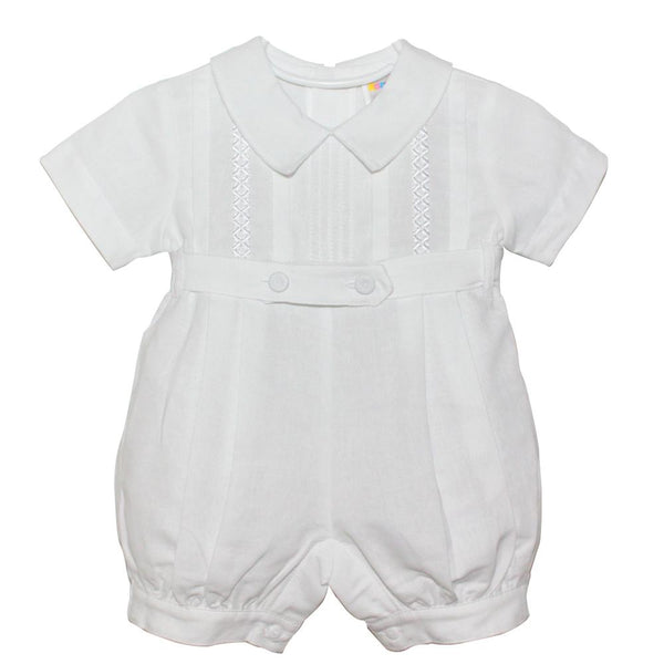 The Bennett Linen Romper in White