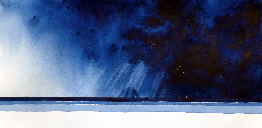 Ailsa Blues.  Original Watercolour Painting 39x19 cms)