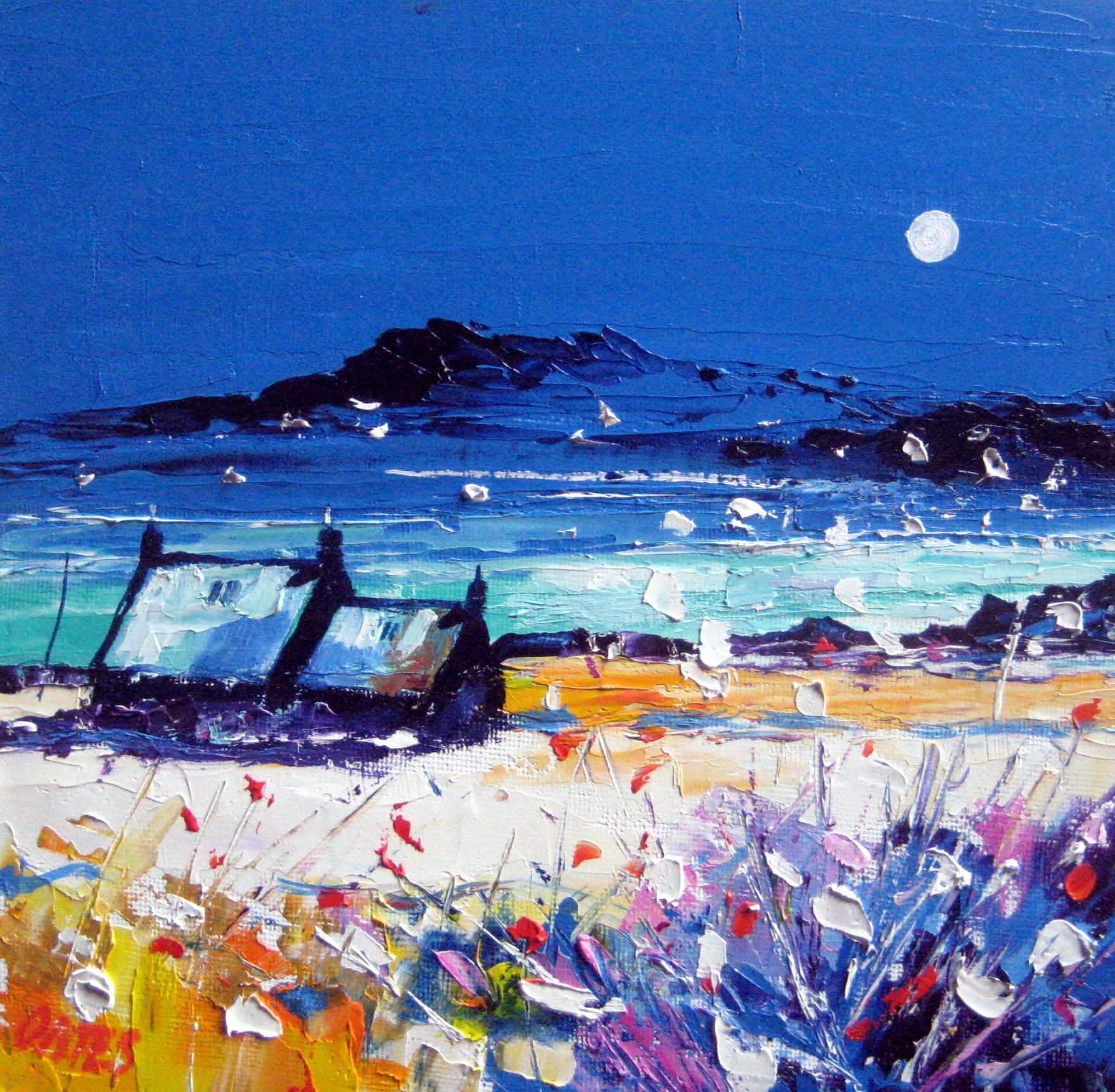 Ayrshire Moon   Original oil  Painting 19x19cms