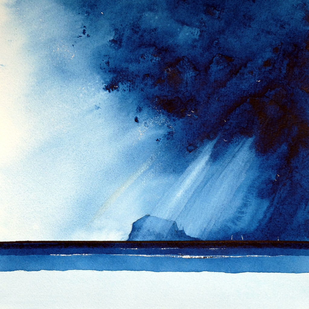 Bass Rock.  Original Watercolour Painting 27x27 cm
