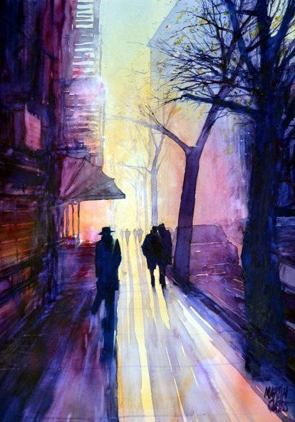 Brooklyn Sidewalk . Original watercolour by Martin Oates 48 x 68 cm