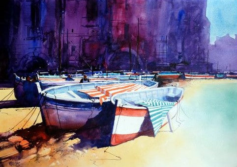Cefalu Sicily . Original watercolour by Martin Oates 48 x 68 cm