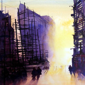 Clyde Shipyard Shapes  48x48cms Original watercolour. ** SALE PRICE £420**  (WAS £480)