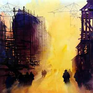 Clyde Shipyard Yellows No.2   33 x 33cms Original watercolour.