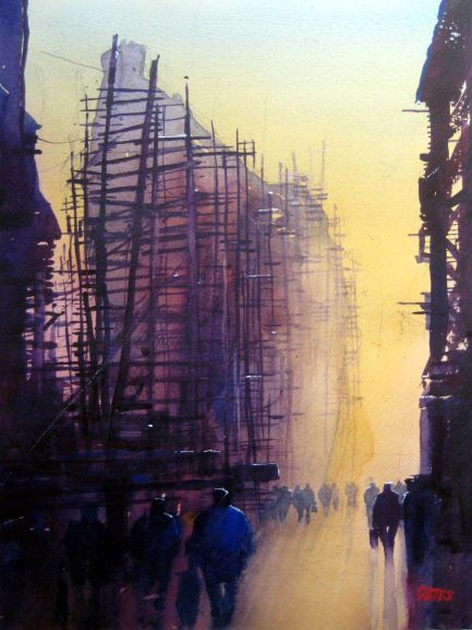 Clyde Silhouettes . Original Watercolour Painting  30 x 40 cm