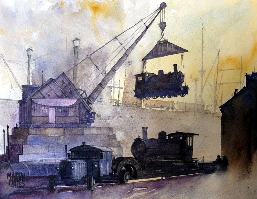 The Clydevilla Crane . Original watercolour 45x35 cms