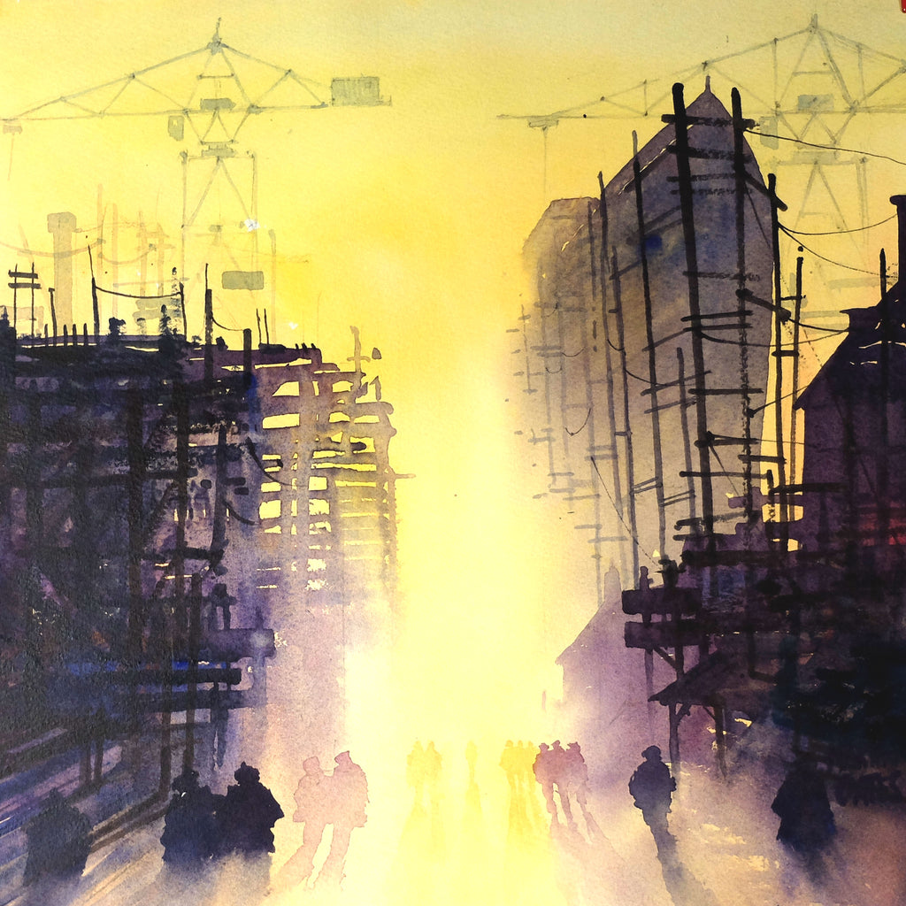 Clyde Workers Heading Home #1. Original watercolour by Martin Oates 36x36 cm