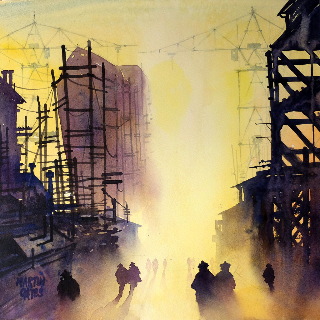 Copy of Clyde Workers Heading Home #2. Original watercolour by Martin Oates 36x36 cm