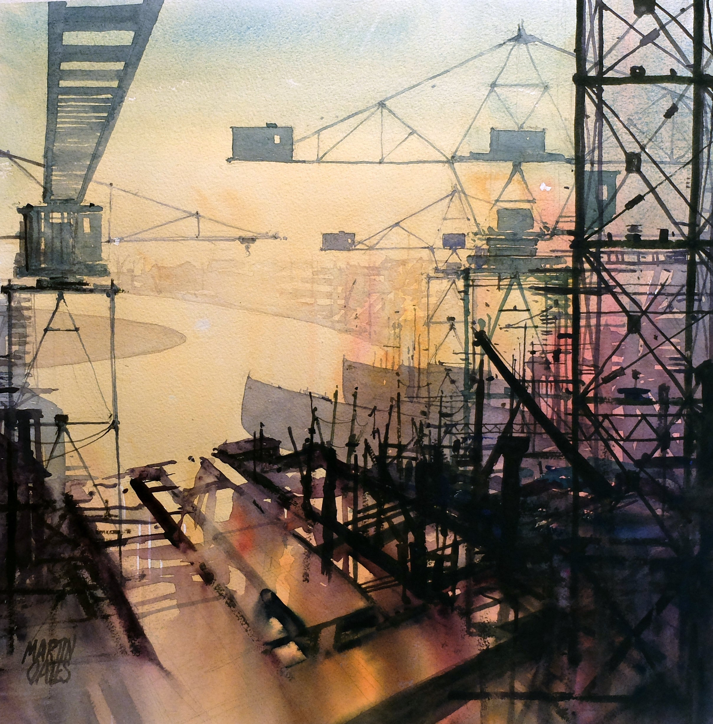 Clyde Cranes 3 . Original watercolour by Martin Oates 50 x 50 cm