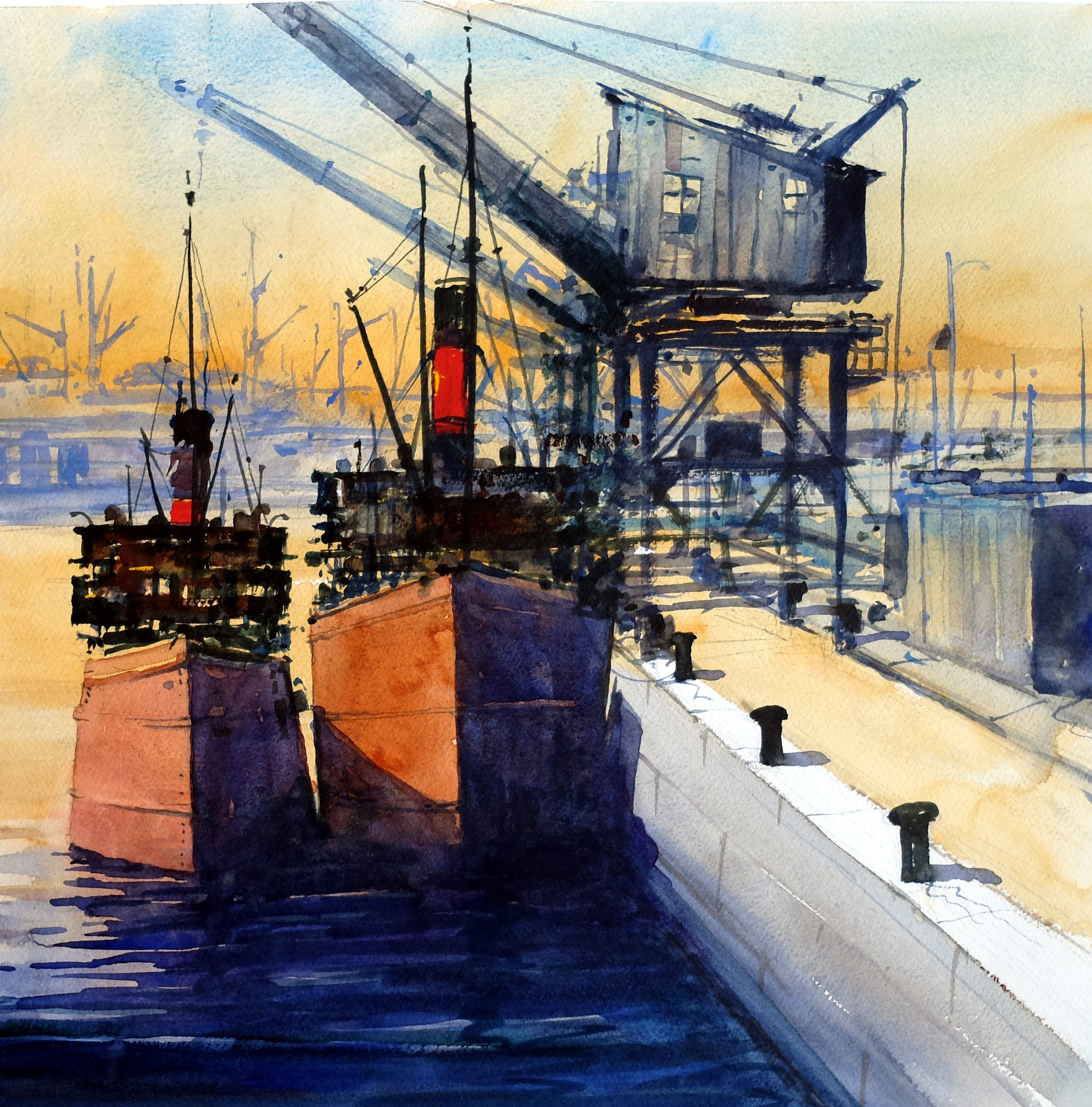 Clyde Puffers . Original watercolour by Martin Oates 48 x 48 cm