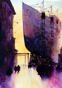 ..SOLD ..Clyde Shadows II . Original watercolour by Martin Oates 48 x 68 cm **SALE PRICE £420**.(was £550)