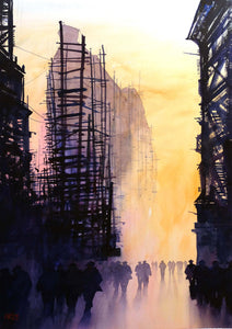..SOLD.. Clyde Shapes. Original watercolour by Martin Oates 48 x 68 ** SALE PRICE £420** (was £550)
