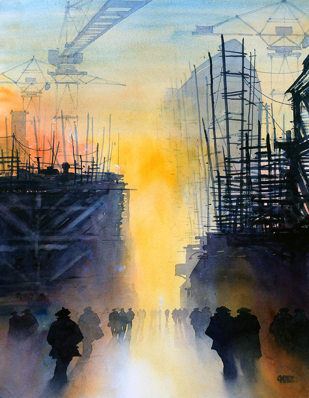Clyde Shift Over. Original watercolour by Martin Oates 50 x 70 cm