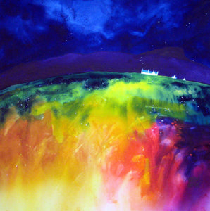 Distant Farms Argyll  Original Watercolour  Painting 55 x 55 cm P.O.A.