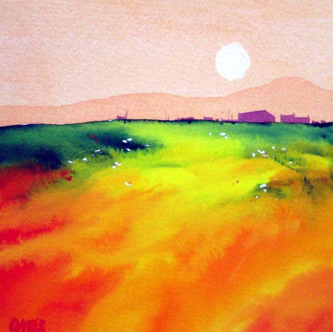 ** SOLD**Dusk Wester Ross  Original Watercolour Painting 18 x 18 cm **SALE PRICE  £120** (was £150)