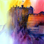 Edinburgh Castle. Original watercolour 48 x 48 cm