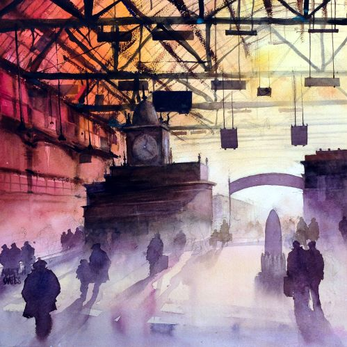 Glasgow Central Shadows. Original watercolour 48 x 48 cm