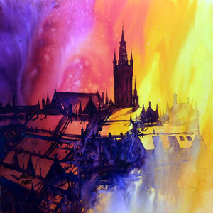 Glasgow University Dawn. Original watercolour by Martin Oates 48x48 cm