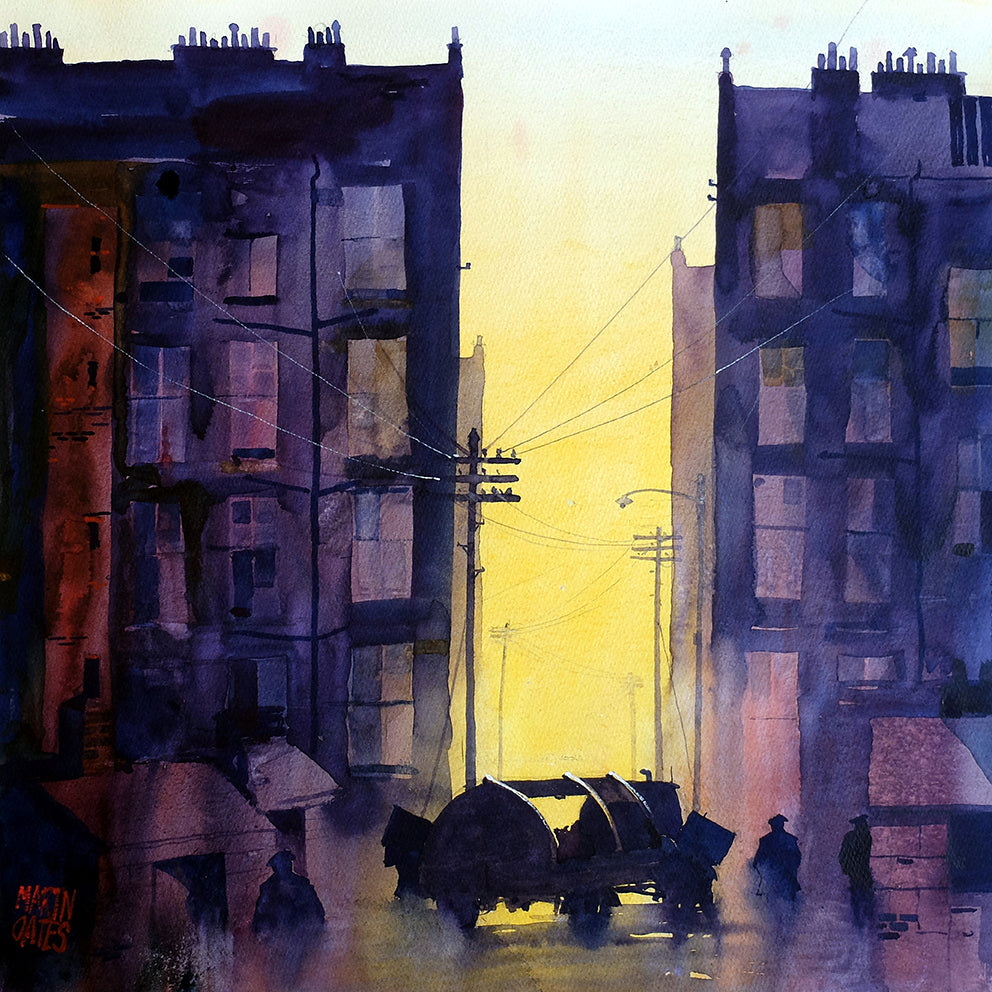 Glasgow Binmen . Original watercolour by Martin Oates 48x48 cm