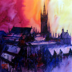 Glasgow University Sunrise . Original watercolour by Martin Oates 48 x 48 cm  P.O.A.
