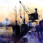 Govan Docks. Original watercolour 48 x 48 cm
