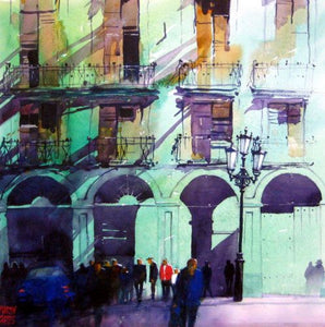 Havana Arches . Original watercolour by Martin Oates 48 x 48 cm **SALE PRICE £360** (was £480)