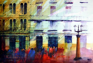 Havana Greens . Original watercolour by Martin Oates 48 x 68 cm