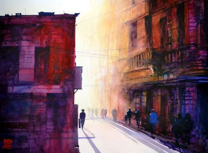 Havana Sunset . Original watercolour by Martin Oates 48 x 68 cm **SALE PRICE £420** (was £550)