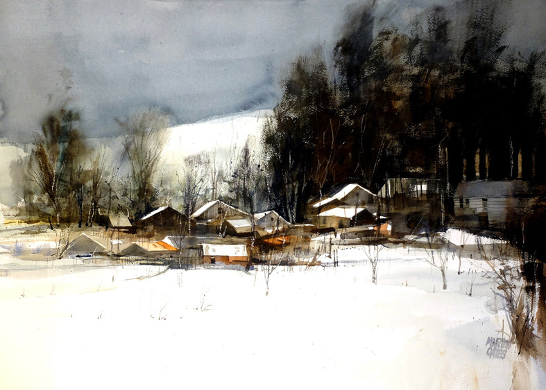 Highland Winter Snow . Original watercolour by Martin Oates 50 x 70 cms