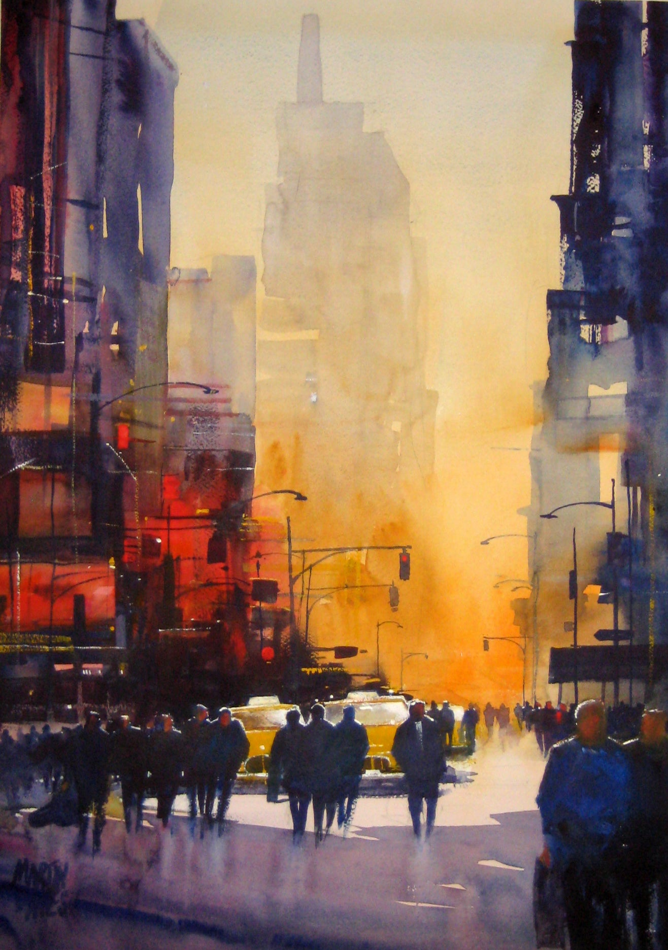 New York Haze . Original watercolour by Martin Oates 48 x 68 cm 88sale price £420** (was £550)