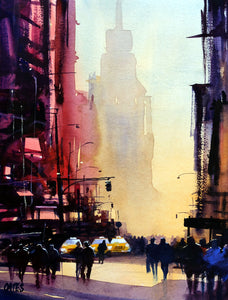 New York Morning. Original watercolour by Martin Oates 32 x 42 cm