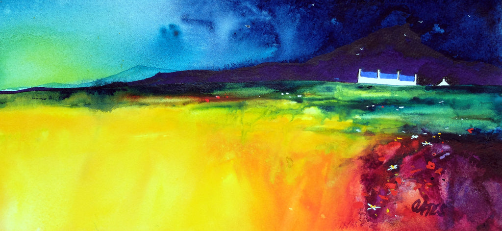 Night Crofts Mull.  Original Watercolour Painting 37x17 cms)