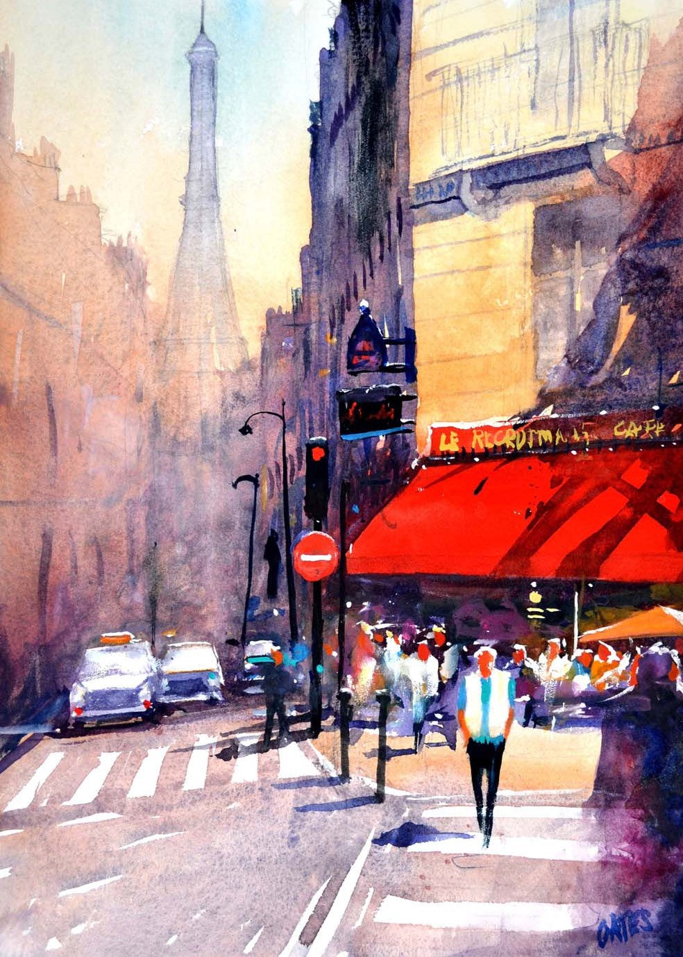 Paris Cafe Rectangular Print.