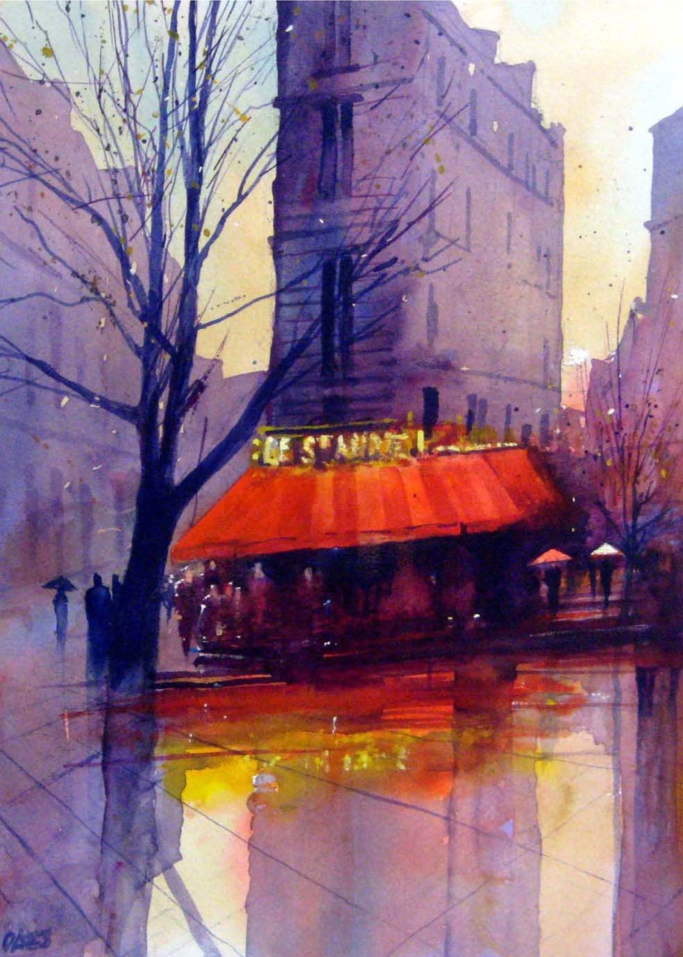 Paris Rain 2 Rectangular Print.