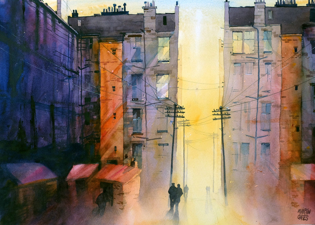 Partick Sunset. Original watercolour by Martin Oates 48 x 68 cm P.O.A.