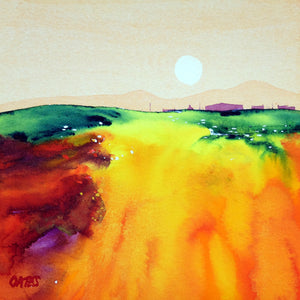 Perthshire Sunset.  Original Watercolour Painting 18x18cm