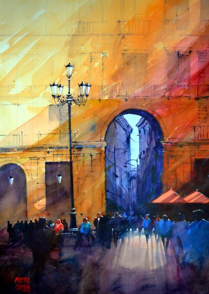 Plaza Mayor Madrid . Original watercolour by Martin Oates 48 x 68 cm